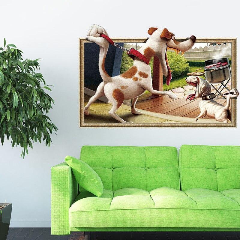 Наклейки самоклеящиеся 3D собак Спальня Главная Фреска настроить стены Бумага TB распродажа