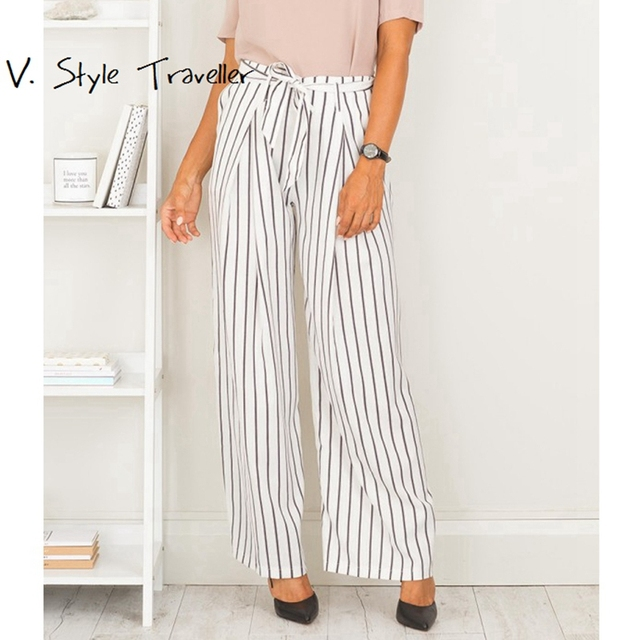 07499ef6419e High Rise Office Lady Palazo Casual Wide Leg Pants Women Stripe Capris  Summer Zipper Sash Tie Beach Boho Bohemia Loose Trousers