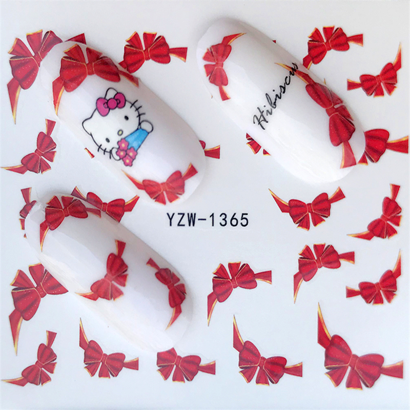FWC 1sheets 3d Red Bow Ties Water Transfer Stickers Nail Art Decoration French Tips Beauty Full Wraps Decals