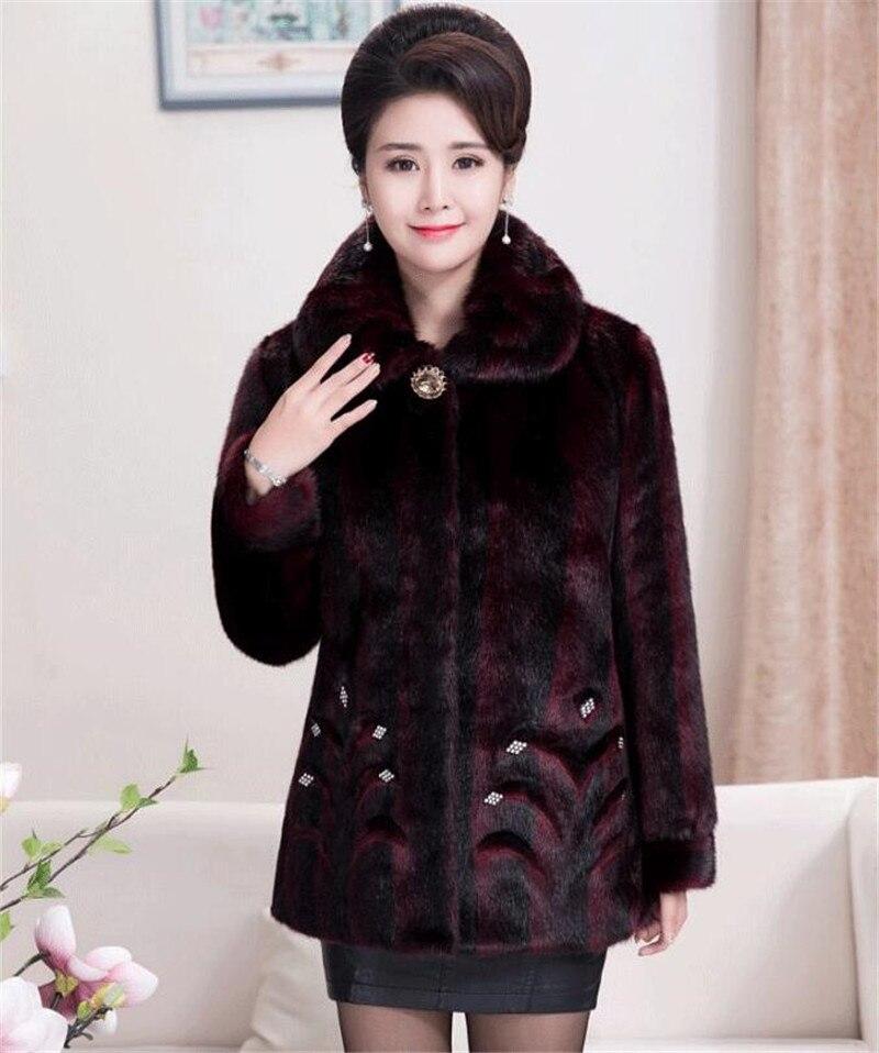 HTB1pfw.rCMmBKNjSZTEq6ysKpXaI 2020 Winter Women's Fur Coat Faux Mink Fur Jackets Plus size 5XL Middle aged Female Diamonds Thicken Noble Fur Coats OKXGNZ 2138