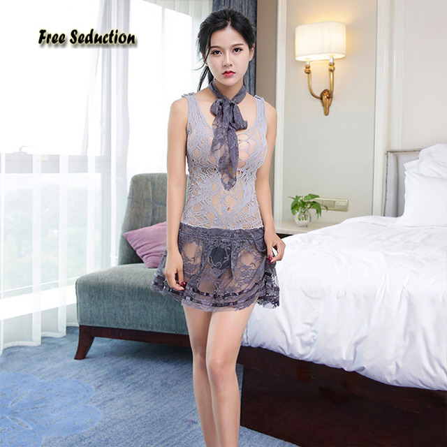 Free Seduction High Quality Sexy Lingerie Novelty Special Use Net Yarn Lace Perspective Pajamas Erotic Skirt