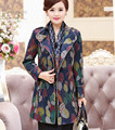Outono Inverno Moda Feminina Imprimir Double Breasted Trench Coat Tamanho Grande Mãe Idade Cintura Blusão Longo Casaco Outerwear XL-4XL