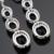 Azul Criado Sapphire Cor Prata Conjuntos de Jóias de Casamento Para As Mulheres de Cor Prata Colar Pingente Brincos Longos Anéis de Caixa de Presente