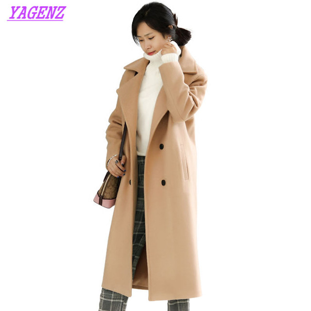 NEW Large size Women Long Woolen jacket Winter warm Women Students Exquisite overcoat Fashion Loose Army Green Wool coat B186