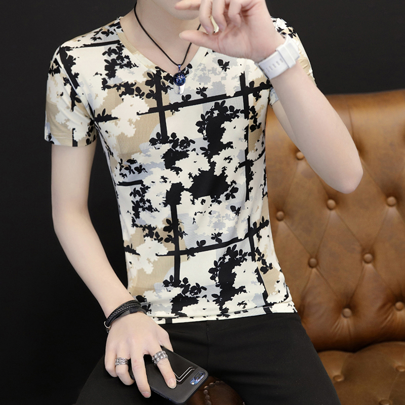 2019 Male Short Sleeve T-shirt slimming v collar half sleeve t-shirt-shirts color clothes 6