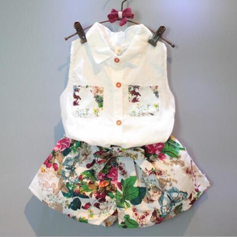 2017 Summer Infant Clothes Toddler Child Baby Set Girls Clothing Sets T Shirt+Pant 2pcs Flower Floral Print Clothes Sets JW1028