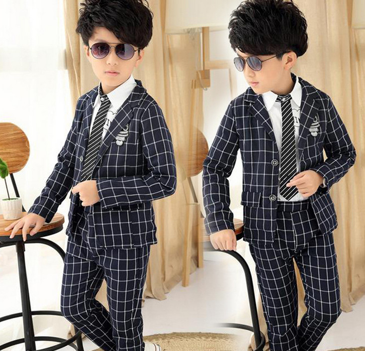 2016 New Big Boy Clothes Set Plaid Blazer+Pants Suit Outfit Kids Children Clothing Formal Long-sleeved Sets For Wedding Party