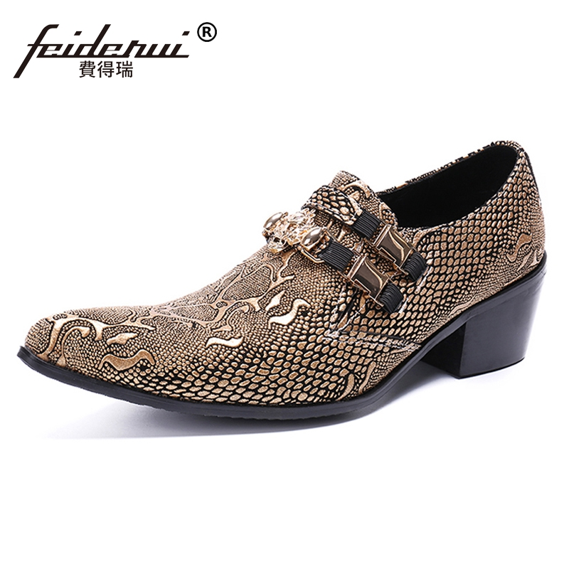 Plus Size Luxury Pointed Toe Slip on Man Banquet Party Loafers Genuine Leather Python Height Increasing Men's Casual Shoes SL466 luxury pointed toe rivet casual shoes england designer party and banquet men loafers fashion young man walking street shoes