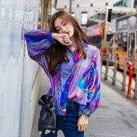 Harajuku рубашка Лазерная мечтательный Цвет печати Свободные Для женщин рубашка в стиле ретро с длинными рукавами Блузки для малышек женский