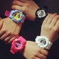 Hot Sale Coloful Sport Casual Analog Digital LED Wrist Watch for Women Girls Men Boy Multi-functions Black White Pink OP001
