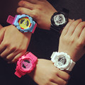 Venta caliente Coloful Sport Casual Analógico Digital LED Reloj de pulsera para Mujeres Niñas Muchacho de Los Hombres de Múltiples funciones Negro Blanco rosa OP001