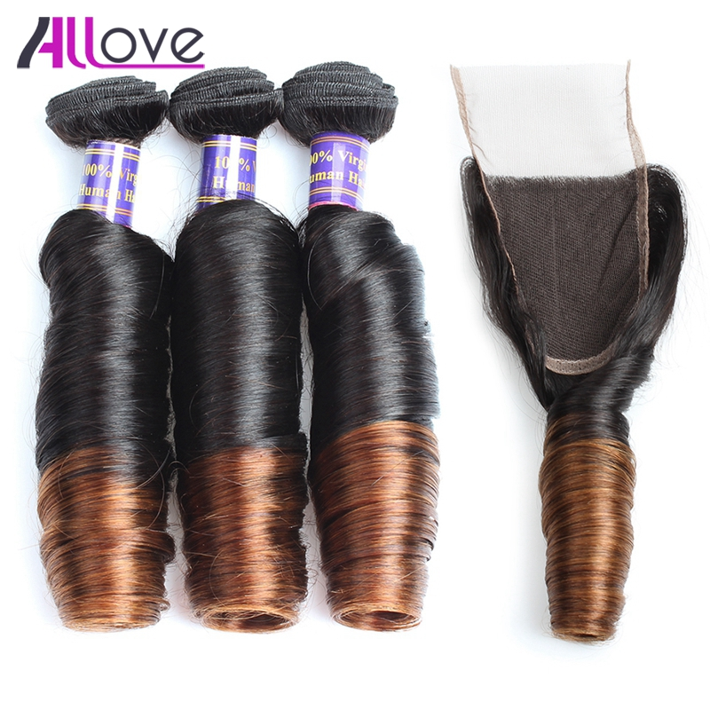 Allove Ombre Hair Extensions With Lace Closure Spring Curly Indian Human Hair Weave 3 Bundles With Closure Indian Remy Hair