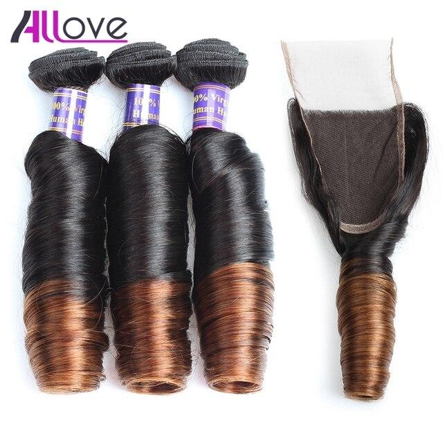 Allove Омбрэ шиньон с кружевной застежкой весенние кудрявые индийские человеческие волосы плетение 3 пучка с закрытием индийские волосы remy