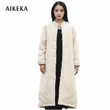 2017 Winter Chinese classical style cotton long parka jacket women Chinoiserie warm comfortable long coat thick long jacket