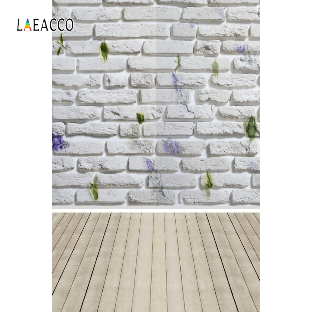 Laeacco White Brick Wall Wooden Floor Portrait Pet Doll Baby Photo Backgrounds Customized Photography Backdrops For Photo Studio in Background from Consumer Electronics