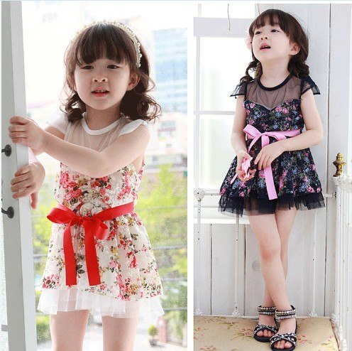 2014 baby girls child gauze lace one-piece dress  floral print princess mini dress bandage flowers summer children's clothing