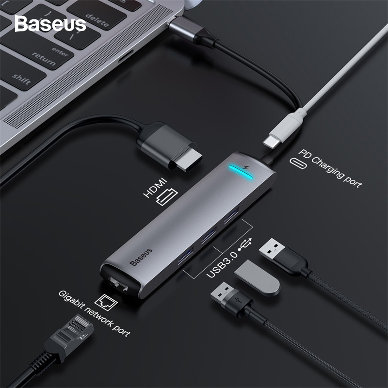 Baseus LED USB C HUB à HDMI RJ45 3 * USB 3.0 Type C PD Adaptateur Pour MacBook Pro Huawei compagnon 20 P20 Pro USB C Ethernet HUB Splitter