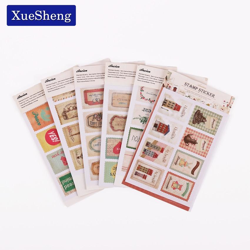 96 PCS/ 6 SET Creative Paper Stamp Sticker Decoration Decal Diary Album Scrapbooking Envelope Seal Stationery Sticker