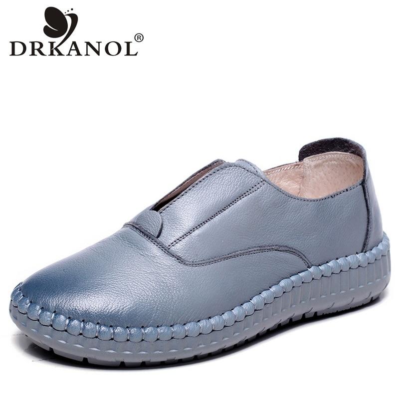 DRKANOL 2020 nouvelles femmes chaussures à la main en cuir véritable décontracté doux sans lacet chaussures plates mocassins peu profondes dames chaussures