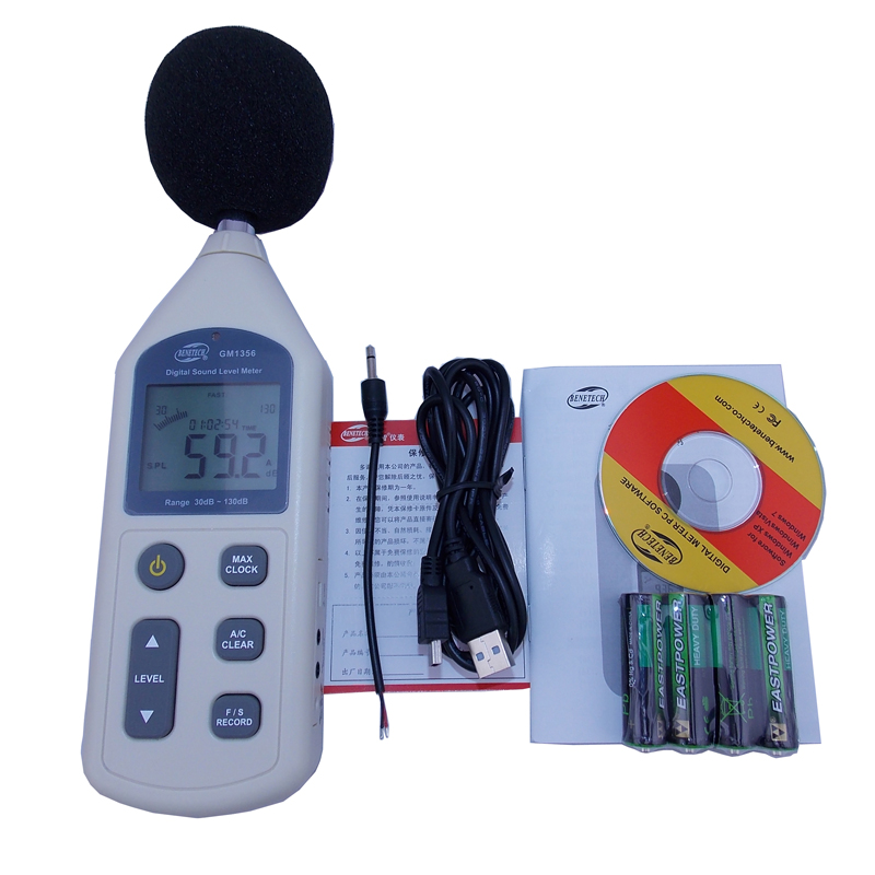 GM1356 Sound Level Meter with USB Digital Noise Tester LCD Screen Audio Vioce Describe Meter Decibel Monitor Pressure Tester gm1356 digital sound level decibel meter usb noise tester with analysis software automatic backlight