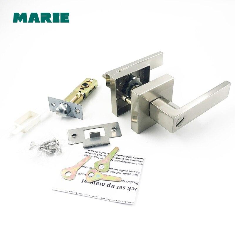 LH3008 acier inoxydable poignée de porte avec verrou Cylindre Avant Retour Levier Loquet Poli Home Security Intérieur Accessoires