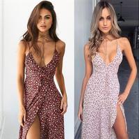 Sexy Deep V Neck Summer Women Dress Split Cross Print Flower Summer Elegant Dress Spaghetti Strap