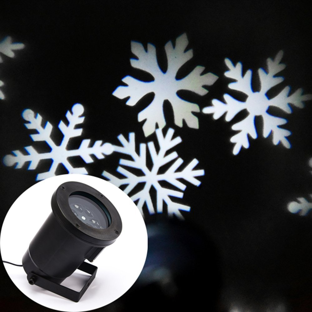 ФОТО Waterproof Christmas Projection Lights Mini Snowflake Dynamic Projector For Holiday Party Decoration