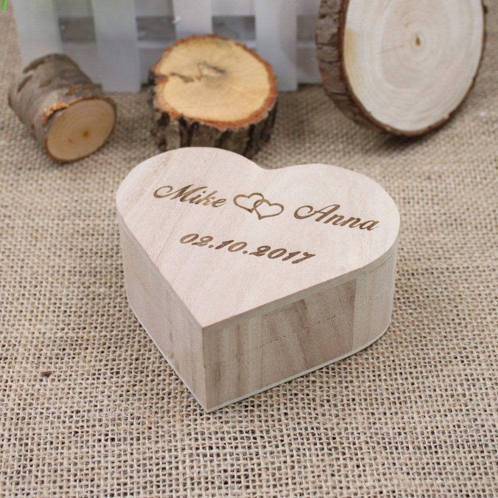 Rustic Wedding Personalized Wooden Ring Boxes Love Heart