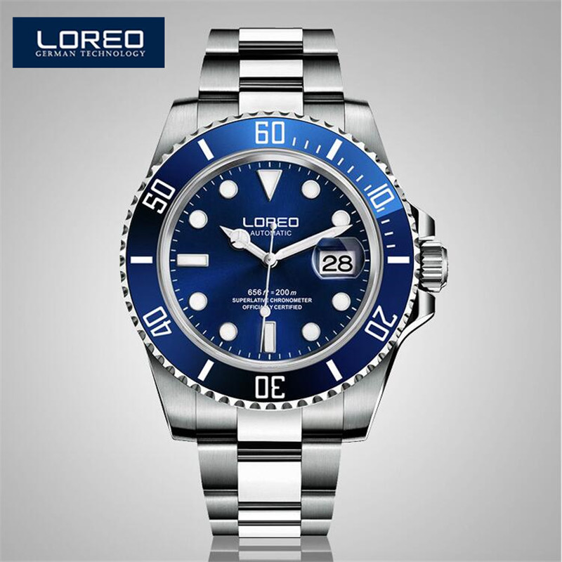 LOREO Luminous Waterproof Watch Men Stainless Steel Sapphire Automatic Machine Wristwatch Auto Date Relogio Masculino AB2275