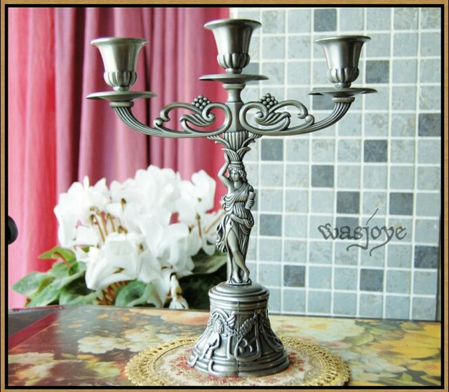 Antique Tin Color 3 Arm Candelabra Angel Candles Rustic Candle Holder Metal For Retro