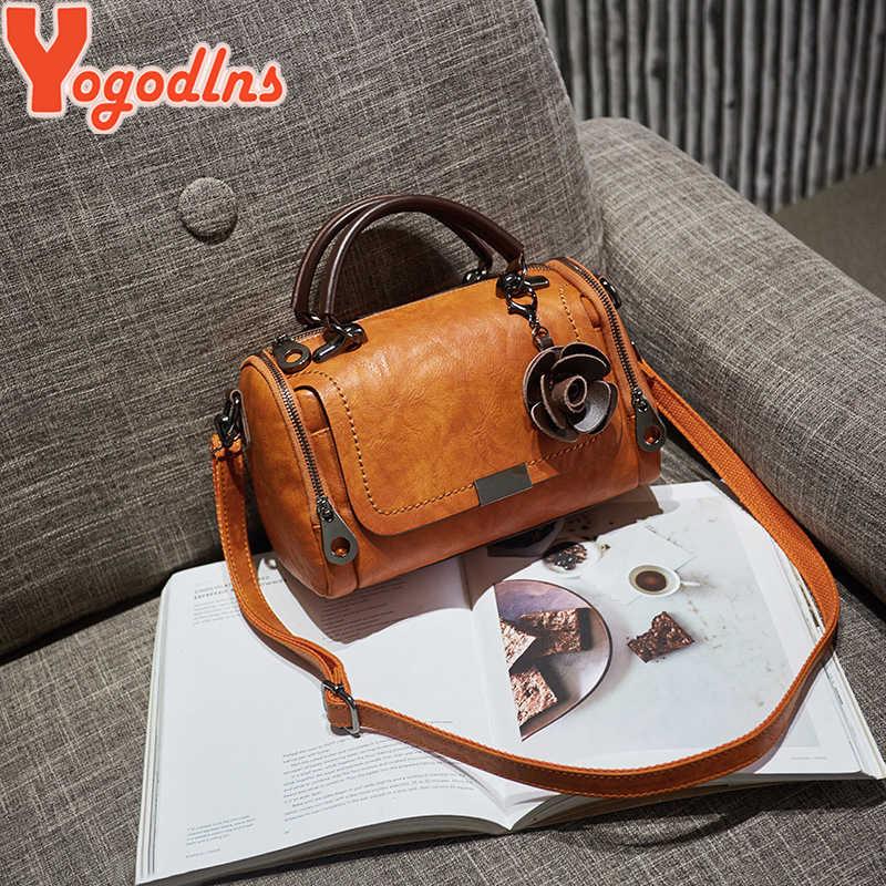 Yogodlns 2019 nouveau sac à main pendentif fleurs mode femme sacs Boston sac à bandoulière unique dames sac à bandoulière PU sac messenger