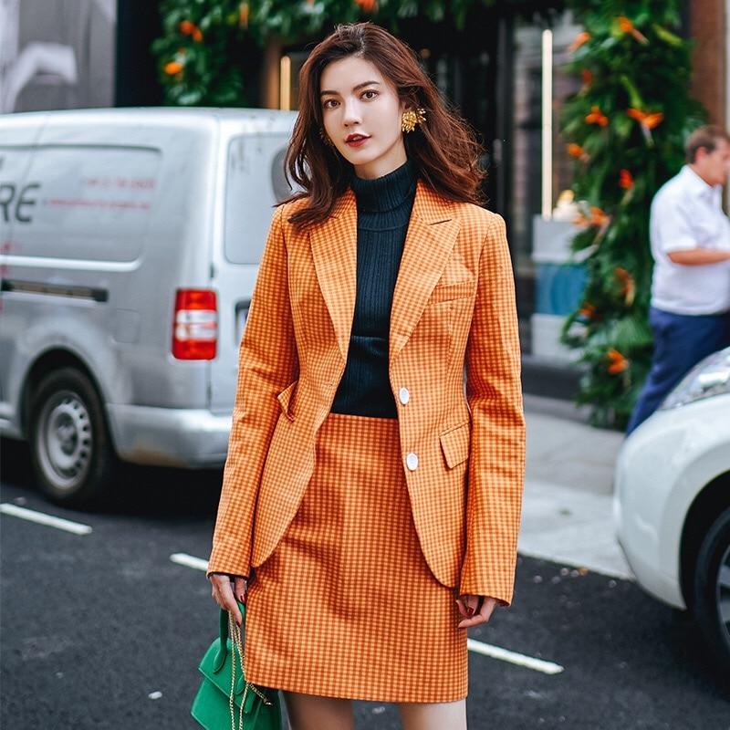 Costume Grâce Lady Style 2019 Et Hiver Automne Vintage Orange Imprimer Originale Gloria Office Plaid Conception Motif Angleterre Élégant aYTqg