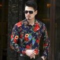 2017 2016 Высокое Качество Мужская Мода Шелковые Гавайские Рубашки Плюс Размер 4XL 5XL 6XL Повседневная Цветочные Рубашки Мужчины