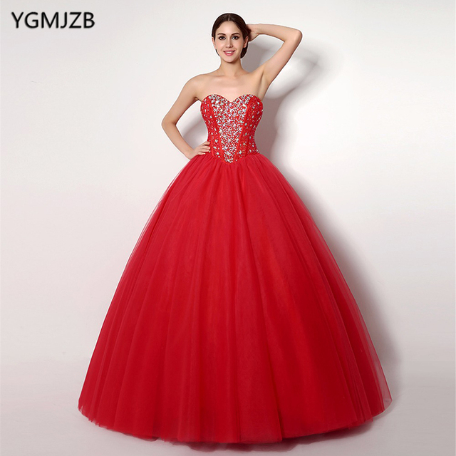 9f393715a0 US $85.73 34% OFF|Cheap Red Quinceanera Dresses Sweetheart Beaded Crystal  Tulle Vestidos De 15 Anos Ball Gown Sweet 16 Dresses Debutante Gown-in ...