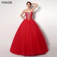 Cheap Red Quinceanera Dresses Sweetheart Beaded Crystal Tulle Vestidos De 15 Anos Ball Gown Sweet 16 Dresses Debutante Gown