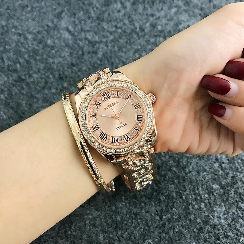 CONTENA Fashion Roman numerals Watch Women Watches Diamond Women's Watches Rose Gold Ladies Watch Clock relogio reloj mujer
