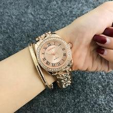 bb731f3f69b1 Relojes de pulsera de mujer con números romanos a la moda de CONTENA relojes  de mujer con diamantes reloj de oro rosa para mujer.