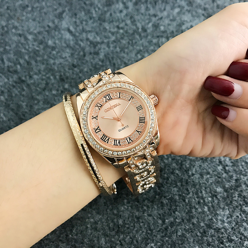 CONTENA Luxury Bracelet Watch Women Watches Rhinestone Women's Watches Fashion Rose Gold Ladies Watch Stainless Steel Clock