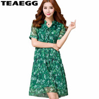 TEAEGG Robe Ete Femme Green Summer Dress Women Loose Floral Womens Dresses New Arrival 2018 Silk Dress Plus Size 4XL 5XL AL1110