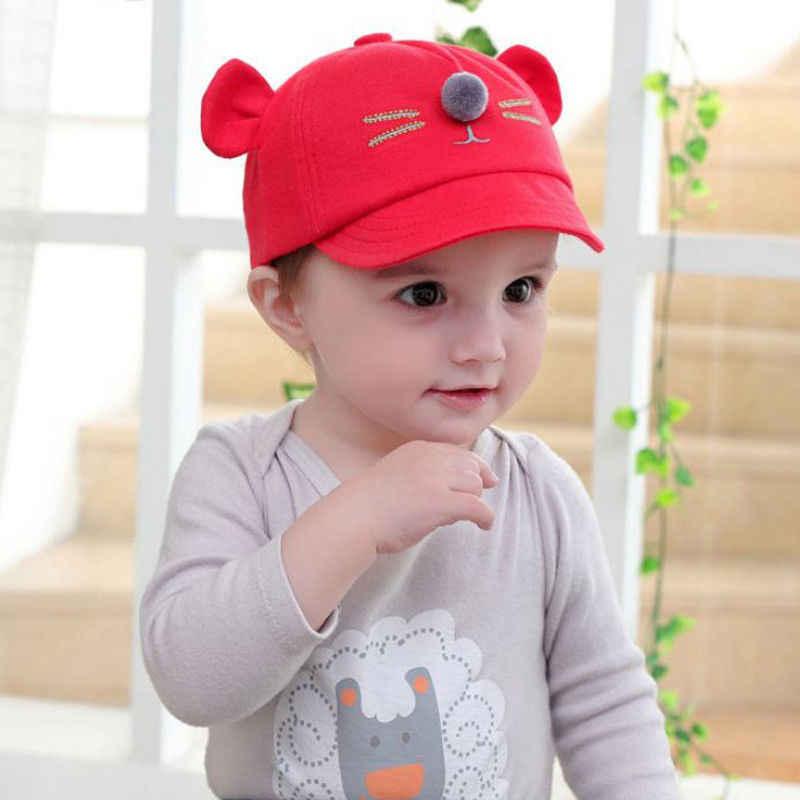 Gorros bonitos de otoño para bebés y niños recién nacidos, Gorro con pompón ajustable de algodón con diseño de oso de dibujos animados, estilo 5