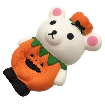 Nueva muñeca de Animal blando con Oso de calabaza bonito, juguete de apretar lento, alivio del estrés perfumado con pan para regalo para fiesta de niños