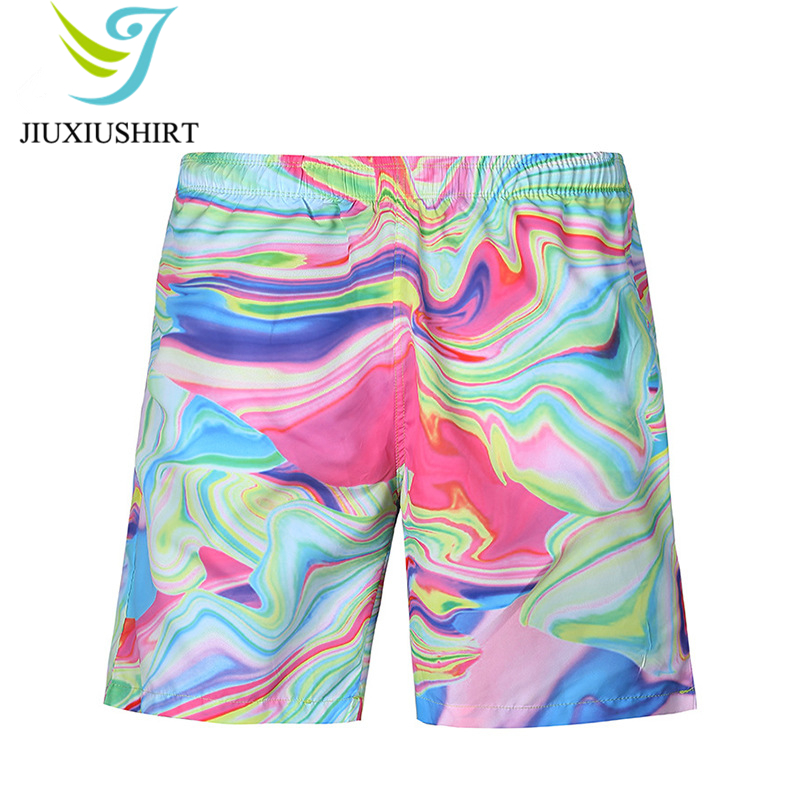 New Men Printed Beach Shorts Quick Dry Beachwear Running Shorts Swimwear Swimsuit Swim Trunks Sports Shorts Board Shorts M-2XL