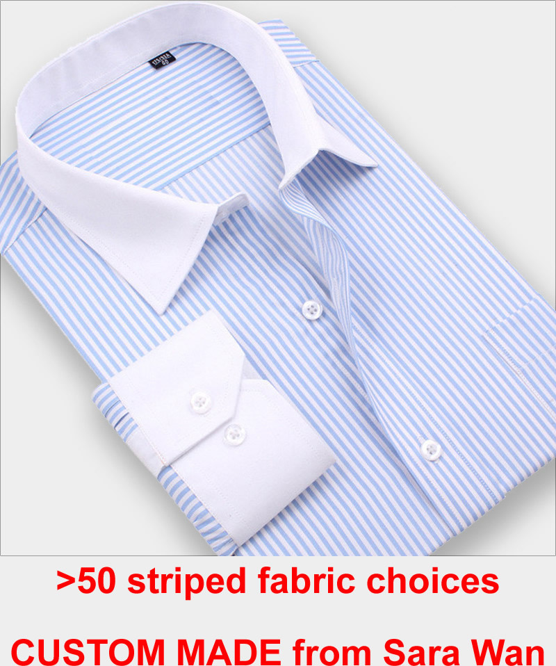 Custom Made Striped Shirt Men Mens Dress Shirts French Cuff,Bespoke Pinstripe Dress Shirt Slim Long Sleeve 100% Cotton Shirt