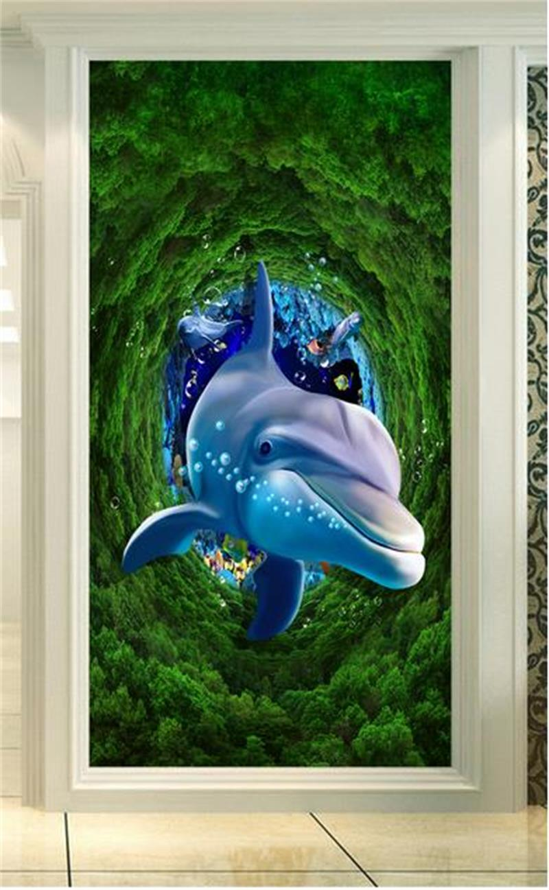Online get cheap dolphin fish photo for Dolphin mural wallpaper