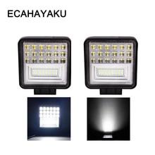 ECAHAYAKU 2pcs 4 inch 126W Off road LED Work Light bar combo Beam 12V 24V 4x4 UAZ Driving Fishing Fog for car styling auto