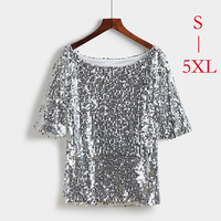 S 5XL Women Sequin Stitching T Shirt 2017 Summer Hot Sale Tops Female Tees T Shirt