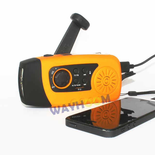 Солнечный Crank Радио TF/FM Радио Аварийного Телефон Зарядное Устройство 2000 мАч Crank Фонарик