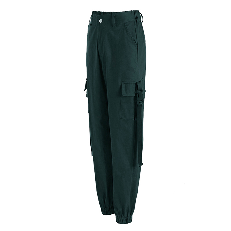 ADISPUTENT Streetwear Cargo Pants Women Casual Joggers Black High Waist Loose Female Trousers Korean Style Ladies Pants Capri 19