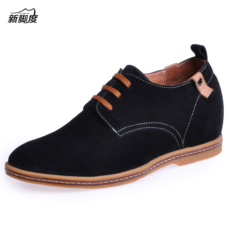 Men Colorful Suede Leather Shoes in Height Increased Insole Make Boys Grow Taller 6CM Black/Yellow/Gray/Dark Blue/Blue/Green vik max adult kids dark blue leather figure skate shoes with aluminium alloy frame and stainless steel ice blade