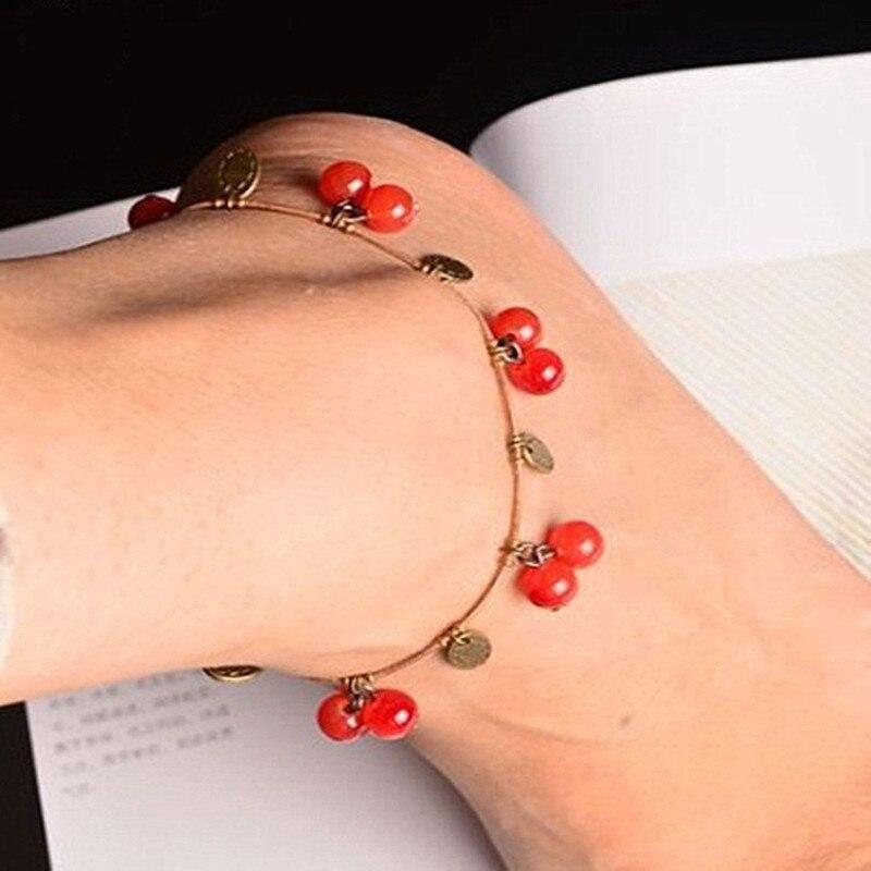 Vintage Boho rojo cereza perlas tobilleras para las mujeres pulsera de moda pie joyería